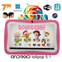 Tablette tactile enfant YOKID quad core 7 pouces Android 5.1 Rose 12Go - www.yonis-shop.com