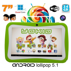 Tablette tactile enfant YOKID 7 pouces quad core android 5.1 Vert 24Go - www.yonis-shop.com
