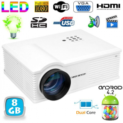 Vidéoprojecteur Android 4.2 3200 Lumens LED 140W Full HD 1080p Blanc
