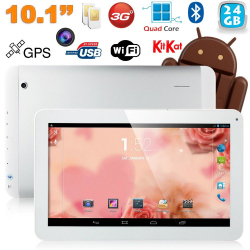 Tablette tactile 10 pouces 3G Double SIM Quad Core WiFi GPS 32Go Blanc - www.yonis-shop.com
