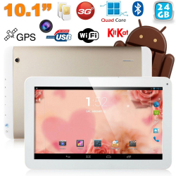 Tablette tactile 10 pouces 3G Double SIM Quad Core WiFi GPS 32Go Or