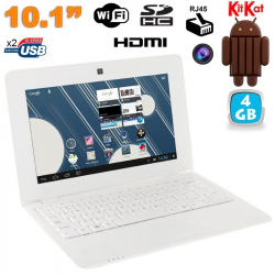 Mini PC Android ultra portable netbook 10 pouces WiFi 4 Go Blanc