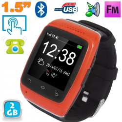 Montre connectée Android Smartwatch bluetooth tactile 1.5 pouces Rouge