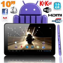 Tablette tactile 10 pouces Android 4.4 KitKat Quad Core 16 Go Violet