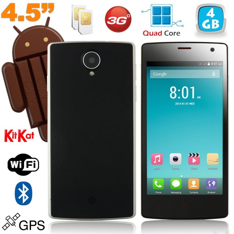 smartphone android dual sim 4 5 pouces kitkat quad core noir. Black Bedroom Furniture Sets. Home Design Ideas