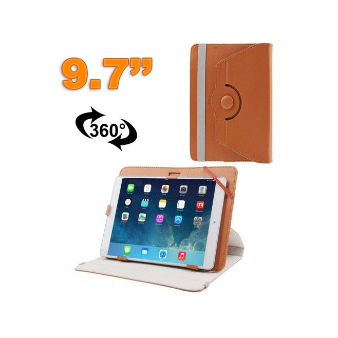 Housse universelle tablette 9.7 pouces étui 360° simili cuir marron - www.yonis-shop.com