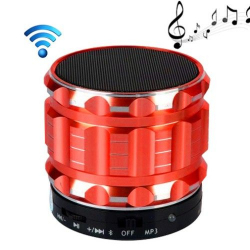 Mini Enceinte bluetooth kit mains libres micro SD USB métal Rouge - www.yonis-shop.com