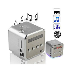 Radio portable digitale enceinte FM clé USB carte micro SD Argent - www.yonis-shop.com
