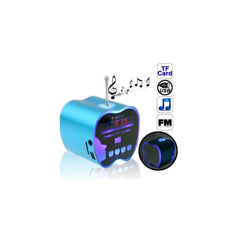 mini enceinte portable radio fm usb micro sd jack pomme bleu. Black Bedroom Furniture Sets. Home Design Ideas