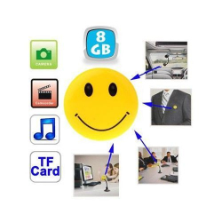 Badge smiley caméra espion appareil photo MP3 USB Micro SD 8 Go