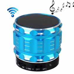 Mini Enceinte bluetooth kit mains libres micro SD USB métal Bleu