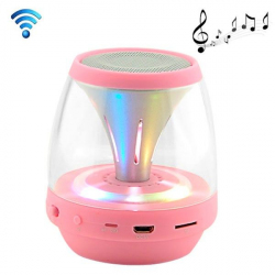 Enceinte portable sans fil Bluetooth LED lumineuse kit main libre Rose