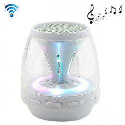 Enceinte portable sans fil Bluetooth LED lumineuse kit main libre Blanc