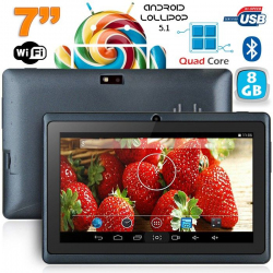 Tablette 7 pouces Bluetooth Quad Core Android 5.1 Lollipop 8Go Noir