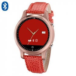 Montre connectée smartwatch iOS et Android bracelet cuir Rouge - www.yonis-shop.com