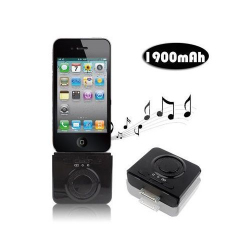 Enceinte batterie 1900 mah iPhone iPod 2 en 1 Noir