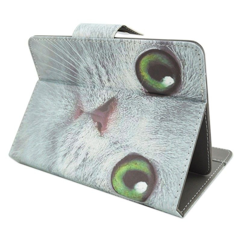 housse universelle tablette tactile 10 pouces motif chat blanc