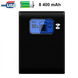 Batterie externe 8400mAh double port USB écran digital LED Noir
