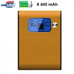 Batterie externe 8400mAh double port USB écran digital LED Orange