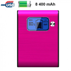 Batterie externe 8400mAh double port USB écran digital LED Rose