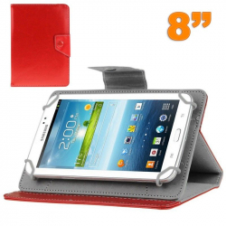 Housse tablette 8 pouces universelle support etui protection Rouge