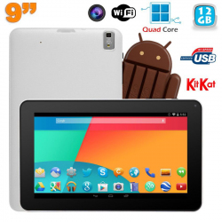 Tablette tactile 9 pouces Android 4.4 Bluetooth Quad Core 12Go Blanc