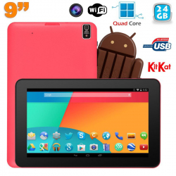 Tablette tactile 9 pouces Android 4.4 Bluetooth Quad Core 24 Go Rose