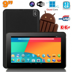 Tablette tactile 9 pouces Android 4.4 Bluetooth Quad Core 12Go Noir