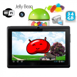 Tablette tactile Android 4.1 Jelly Bean 7 pouces capacitif 34 Go Noir