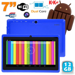 Tablette tactile Android 4.4 KitKat 7 pouces Dual Core 12 Go Bleu - www.yonis-shop.com
