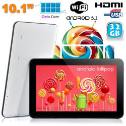 Tablette tactile 10 pouces Android Lollipop 5.1 Octa Core 32Go Blanc - www.yonis-shop.com
