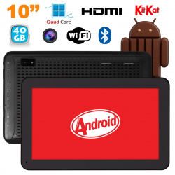Tablette 10 pouces Android KitKat Bluetooth Quad Core 40Go Noir - www.yonis-shop.com
