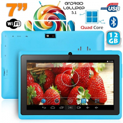 Tablette 7 pouces Bluetooth Quad Core Android 5.1 Lollipop 12Go Bleu - www.yonis-shop.com