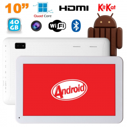Tablette 10 pouces Android KitKat Bluetooth Quad Core 40Go Blanc - www.yonis-shop.com