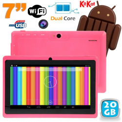 Tablette tactile Android 4.4 KitKat 7 pouces Dual Core 20 Go Rose - www.yonis-shop.com