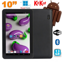 Tablette 10 pouces Quad Core Android 4.4 WiFi Bluetooth 12Go Noir - www.yonis-shop.com