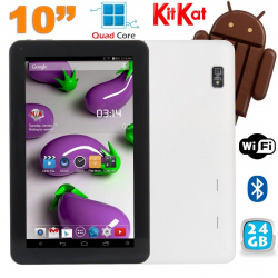 Tablette 10 pouces Quad Core Android 4.4 WiFi Bluetooth 24Go Blanc - www.yonis-shop.com