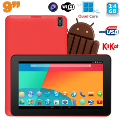 Tablette tactile 9 pouces Android 4.4 Bluetooth Quad Core 24Go Rouge - www.yonis-shop.com
