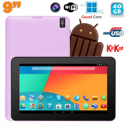 Tablette tactile 9 pouces Android 4.4 Bluetooth Quad Core 40Go Violet