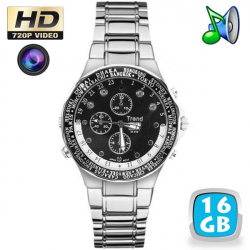 Montre caméra espion HD 720p vision nocturne MP3 16 Go chrome world - www.yonis-shop.com