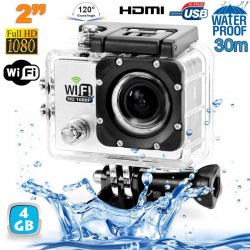 Camera sport wifi étanche caisson waterproof 12 MP Full HD Blanc 4Go - www.yonis-shop.com