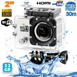 Camera sport wifi étanche caisson waterproof 12 MP Full HD Blanc 32Go - www.yonis-shop.com