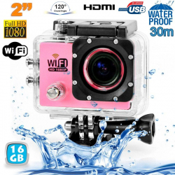 Camera sport wifi étanche caisson waterproof 12 MP Full HD Rose 16Go - www.yonis-shop.com