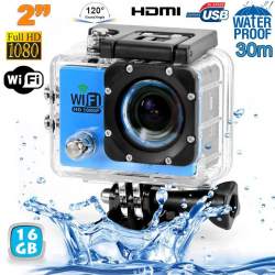 Camera sport wifi étanche caisson waterproof 12 MP Full HD Bleu 16Go - www.yonis-shop.com