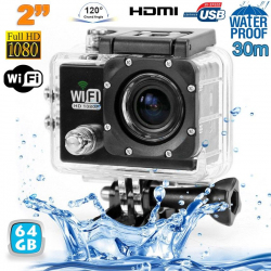 Camera sport wifi étanche caisson waterproof 12 MP Full HD Noir 64Go - www.yonis-shop.com