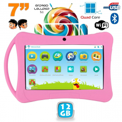 Tablette enfant 7 pouces Android 5.1 Bluetooth Quad Core 12Go Rose - www.yonis-shop.com