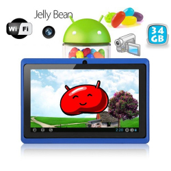 Tablette tactile Android 4.1 Jelly Bean 7 pouces capacitif 34 Go Bleu - www.yonis-shop.com